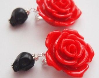 Day of the Dead Rockabilly Rose Clip on Earrings - Cute Fun Ears Wild