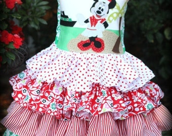 Minnie Mouse Red Green Christmas Cruise Dress Sizes 1 2 3 4 5 6 7 8