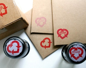 Heart Shaped Recycled Packaging Rubber Stamp Self Inking Round