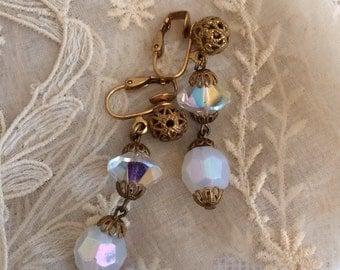 Crystal Bead Earrings, Opal White AB Glass Bead Jewelry Vintage Earrings Filigree Vintage Bridal Jewelry Gift Earrings Clip Ons Winter White