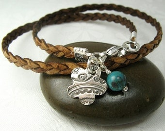 LEATHER WRAP BRACELET with handmade textured flower charm sterling silver leather bracelet