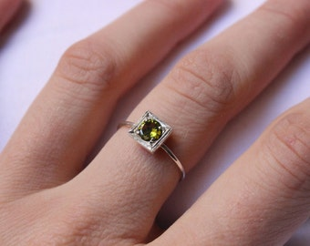 Peridot  Ring, Green Little Stacking ring, Sterling silver, Made to order, Custom Ring ,  Birthstone Ring, August birthstone