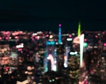 New York Manhattan Time Square Abstract - Modern Fine Art Urban City Photography office hotel home wall deco nightsky lights bokeh landmark