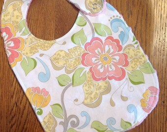 Pink Daisy Minky Baby/Toddler Bib - Last One