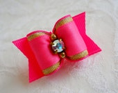 """DOG BOW- 7/8"""" Pink and Gold SL Dog Bow"""