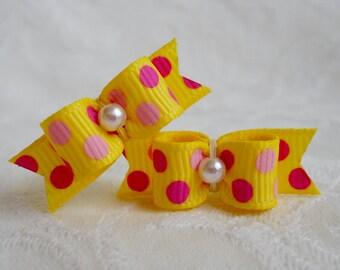 DOG BOW- 3/8 Pink Sunny Dots Maltese Pair
