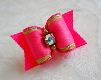"DOG BOW- 7/8"" Pink and Gold SL Dog Bow"