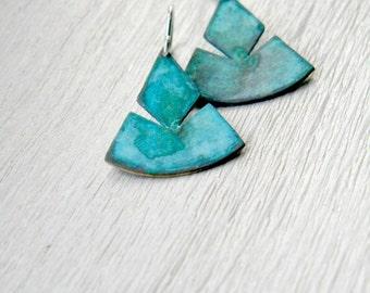Aztec Inspired Triangle Verdigris Earrings - sterling silver brass dangle earrings, verdigris geometric, made in Italy