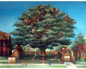 Neighborhood Treehouse, 11x14 fine art matted giclee print reproduction of an original oil painting