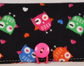 Fabric Business Card Holder Owls on black background