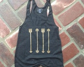 Arrows Tank Top // Many colors available // Black and Gold Racerback Tank // Women Tanks