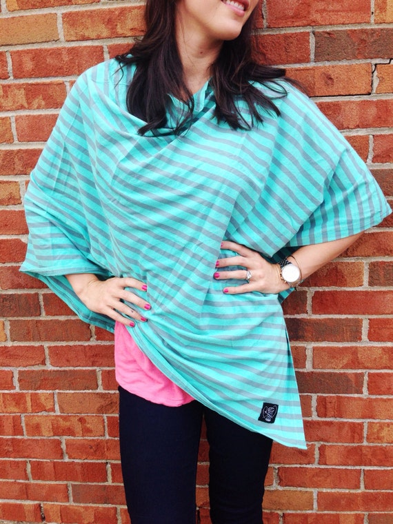 Mint Green And Gray Stripe Nursing Poncho For Full Coverage