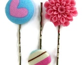 Heart Flower Hair Pins Set of Three - Pink and Blue