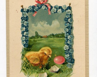Easter postcard, vintage postcard, Easter chick with shell and eggs, antique postcard, vintage Easter card, garland of forget me nots
