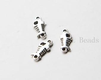 80pcs Oxidized Silver Tone Base Metal Charms-Fish Bone 15x7mm (133Y-E-550)