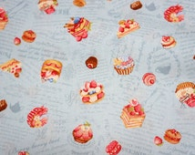 """Japanese fabric  sweets  50 cm by 106 cm or 19.6"""" by 42"""" Half meter Light weight   (n321)"""