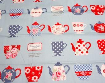1 meter Tea cup theme Japanese Fabric  (n421b)