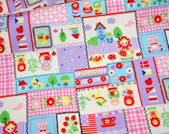 Japanese fabric with Matryoshka Russian nesting dolls print Fat Quarter