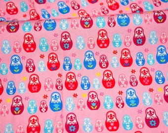ON SALE Matryoshka Russian dolls print japanese fabric Half meter