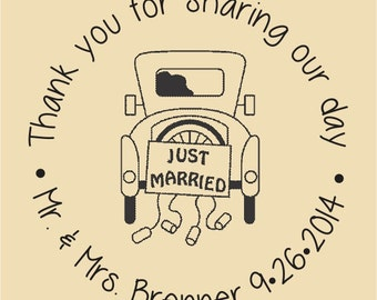 Just Married Thank you for sharing our day Gift Bag Stamp WR013