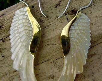 Fake Gauge Earrings Gold Shell & Mother Of Pearl Earrings - Hand Carved Tribal Organic Fake Piercings