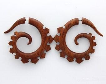 Fake gauge earrings, Hand Craved,Red Blood Wood ,tribal style, Split Gauge , Sprial,organic,faux gauge,fake piercings