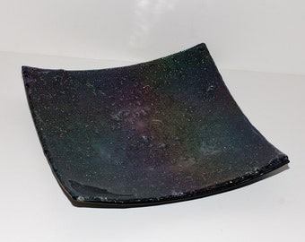 Fused Iridescent Celestial Glass Tray Plate