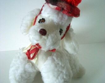 Vintage White Plush Stuffed Toy Poodle