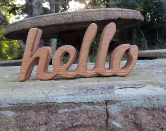 wood hello sign shelf sitter word art