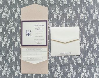 Purple Invitation, Country Wedding Invitation - Kraft Invitation - Vintage Invite, Casual Square Pocket Wedding Invitation - Sarah and Trey