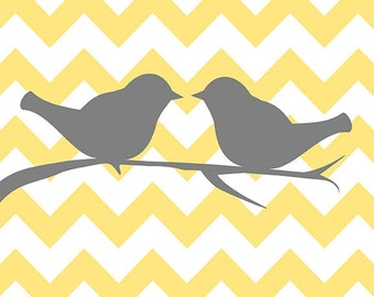 Two love birds on chevron  - yellow and gray - digital print - 8x10 on A4