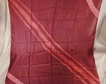Vintage SCARF Hand dyed colors  Silk 1960s Silk Stripes Pink on Pink  34 x 36 inches