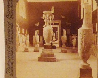 Antique  KEYSTONE Photo 1900s ATHENS GREECE Archeological National Museum Vases sculpture 7x3.5