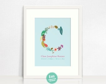Custom Birth Announcement Print with Floral Initial and birth stats