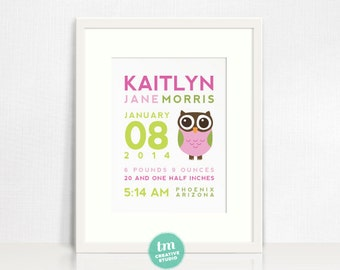 Custom Birth Announcement // Nursery Print // Birth Stat Poster // Owl // Baby Girl // 8x10 Print