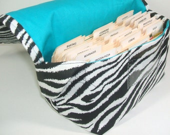 Coupon Holder Mega Large Zebra Fabric Turquoise Lining
