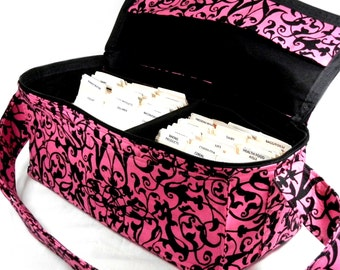"Coupon Pocketbook Mega Deluxe 6"" Double Wide Trellis Scroll Hot Pink and Black"