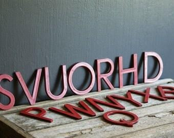 Vintage Red Letters, Plastic Signage, Alphabet, Sign Making