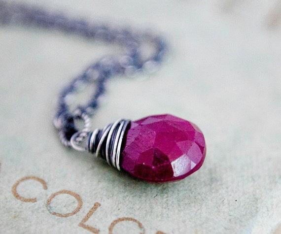 July Birthstone Necklace Ruby Necklace July Birthstone Crimson Red Luxury PoleStar Cancer Birthday