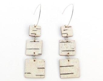 Birch bark square dangle earrings, Trio