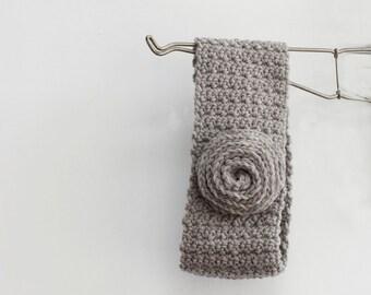 Sale, Crochet Gray Flower Headband, Gift for Her,  Ear Warmers, Winter Earwarmers, Head Warmer, Head Band, Ready to Ship