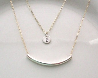 Double Strand Layering Necklace, Curved Tube Bar Necklace, Initial Necklace, Simple Everyday wear, Gold and Silver Jewelry