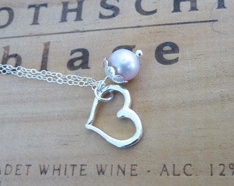 Delicate Sterling Silver Heart With Pink Pearl Necklace