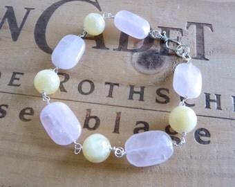 Pastel Pink and Yellow Gemstone Bracelet