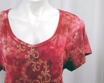 Diamond Vines in Oxblood and Amaranth. A Hand Dyed and Block Printed MicroModal Slub Scoop Neck Cropped Front Tee (medium)