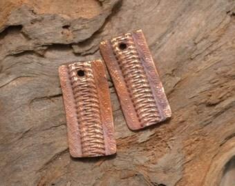 Handmade Copper Zipper Rectangle pair