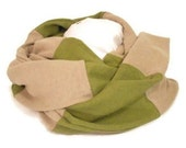Hemp and Organic Cotton Jersey Knit Scarf for Men or Women in Taupe and Moss Green