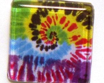 Glass Tile Pin, Tie Dye Swirl