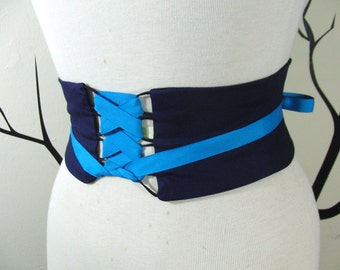 Navy Blue Obi Belt Boned Corset Waist Cincher Sash Any Size