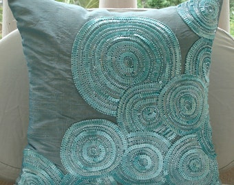 "Luxury  Blue Cushion Covers, Spiral Sequins And Beaded Pillows Cover Square  18""x18"" Silk Pillow Covers - Morning Dew"